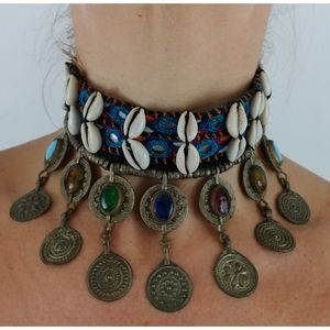 Choker coin charms seashells